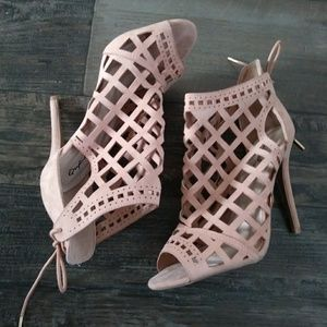 Qupid Nude Cage Laced Tie Back Heels